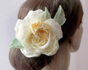 Fabric flower,yellow flower, wedding accessory,flower in hair,Wedding Fascinator, Bridal Hair Clip, Flower Hair Clip,piece bridesmaids