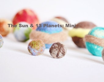 14pc Mini Solar System Set with Storage Bag.  Planets, Space, The Sun, Earth, Learning, Science, Wool Toy Set, Art Toys, Wooly Topic