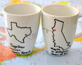 Long Distance Relationship Mugs - State To State Coffee Mug Set Of 2 - Custom Cities States & Message - 10 oz