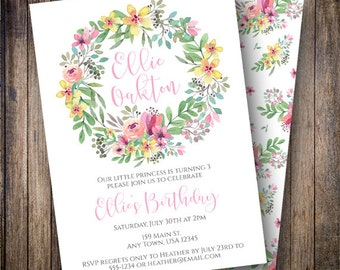 Garden Birthday Party Invitation, Floral Birthday Party Invite, Printable Watercolor Floral Birthday Invite in Green, Pink, Yellow