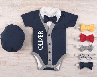 Baby Boy Coming Home Outfit, Personalized Short Sleeve Navy Cardigan, Bodysuit, Hat & Bow Tie Set, Baby Boy Clothes, Baby Boy Gift