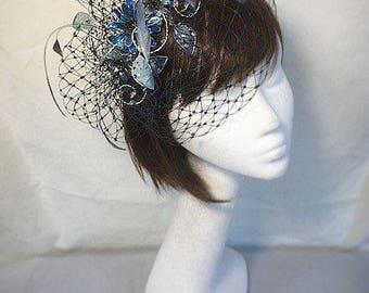 Marine Fascinator, Fascinator blau, Mutter der Braut, einzigartige Hut