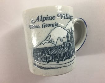 Alpine Village Coffee Mug Cup Etched Helen Georgia Mountains Snow Speckled