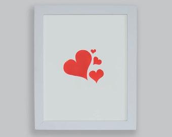 "Red Hearts 8x10"" screenprint"