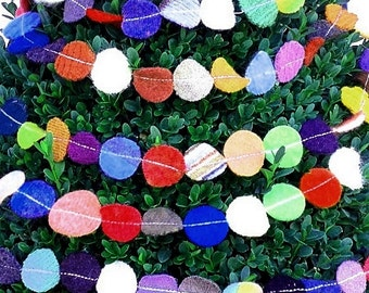 Felted Wool Garland - Party on a String -6 feet of small colorful recycled wool circles dots Christmas Tree or party decoration
