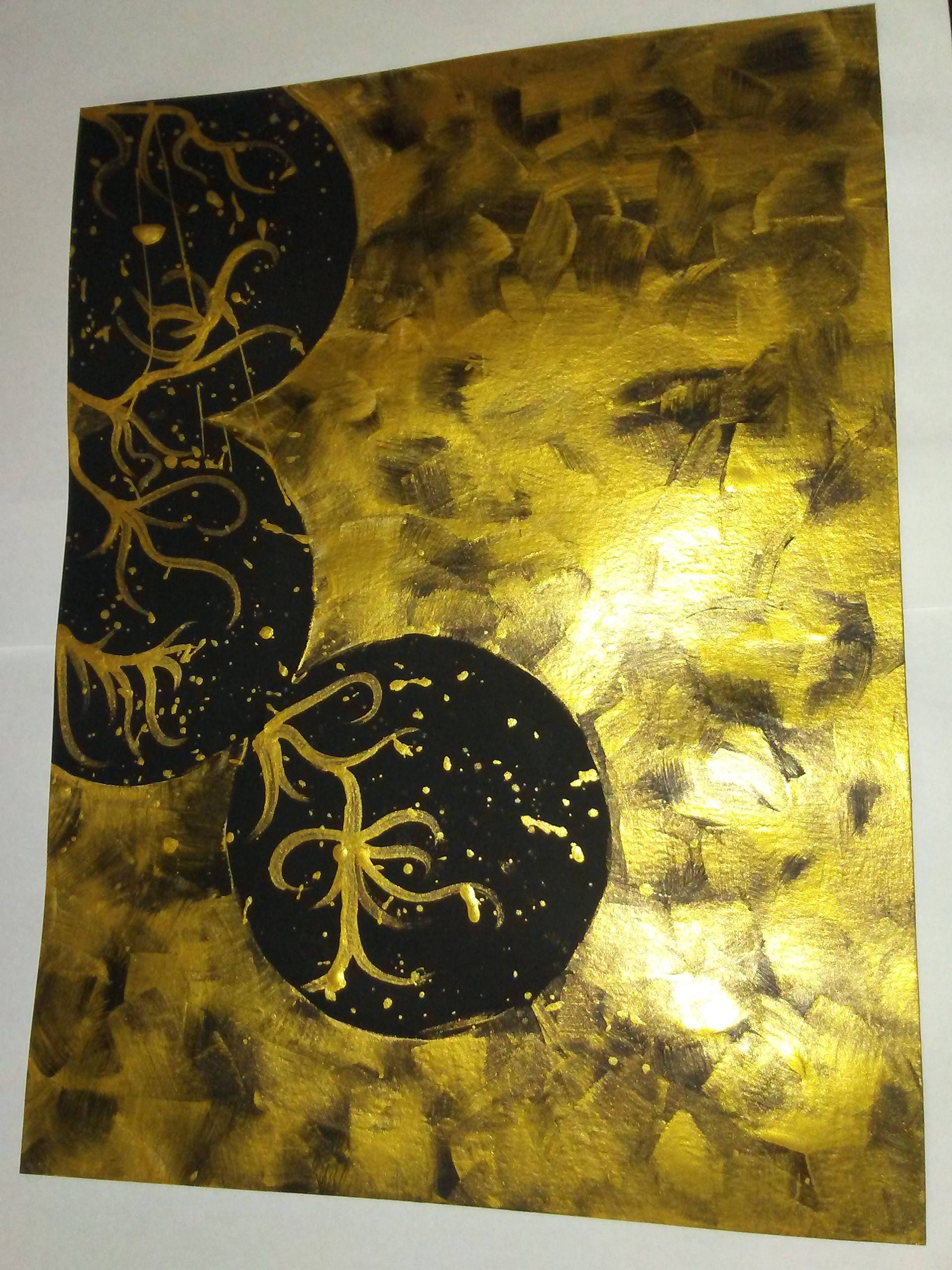 King\'s Gold- Metallic acrylics on paper, abstraction art, abstract ...