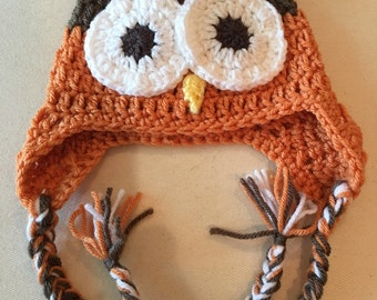 Earflap Hat ,Owl Beanie ,Hat for Baby Boy or Girl ,6-12 months