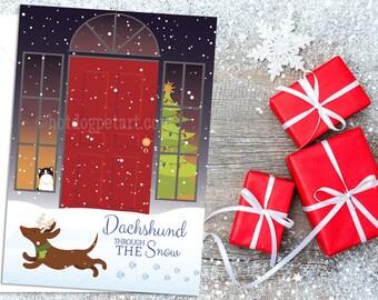 Set of 5 Dog Christmas Cards - Dachshund Through the Snow