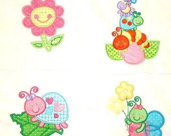 """Appliqued Minky Quilt Squares """"More Cute Bugs"""""""
