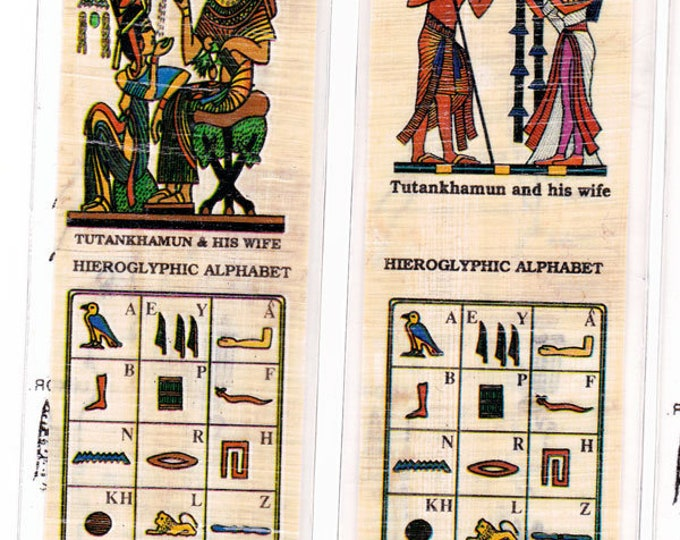 New! Special!! King Tut Series Papyrus Bookmarks! Two for the price of one! Tut seated and Tut Standing. Egyptian alphabet design too! 2.00!