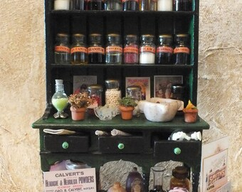 Victorian Apothecary Cupboard, Dollhouse Miniature, Vintage Pharmacy, Medicinal Potions and Cures, Poison Bottles