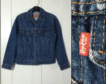 1970's Levi's 4 pocket denim jean jacket faded dark wash teen boys size 16 slim fit #1878