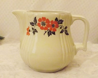 40's Vintage Hall's China Red Poppy Wide Mouth Ewer Pitcher