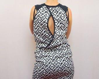 dress original Halter geometric patterned black and white