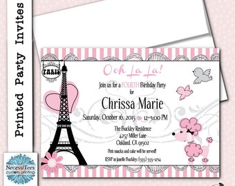 French poodle invite etsy printed invitations french poodle eiffel tower invite with envelope bridal shower stopboris Gallery