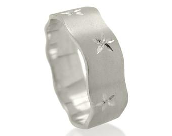 Wedding ring, White Gold wedding ring, Wedding band, Her wedding ring, 14k wedding band, Flowers wedding ring, Engraved wedding band, Boho