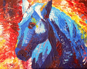 "Art Painting - Horse - PALETTE KNIFE -  Art Painting On Canvas Panel By Irena Rudman - Size : 9"" x 12"" (22.8 cm x 30.4 cm)"