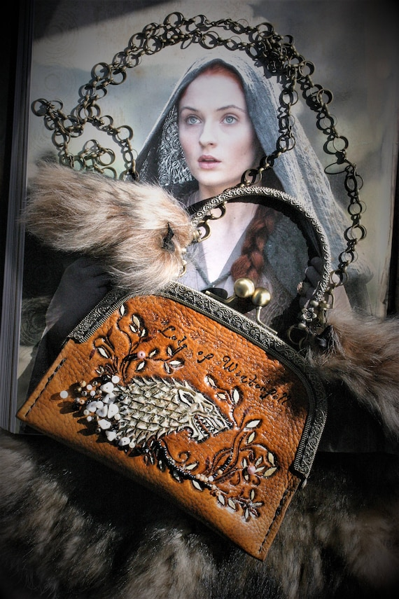 Leather handbag, leather clutch purse, carved leather, Fantasy style, Game of thrones, Lady of Winterfell, Wolf, sansa Stark