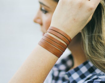 Leather multi-strand cuff-leather slit cuff- leather bracelet- handmade-Gift for her- Tan slit cuff bracelet- Boho jewelry for wife- leather