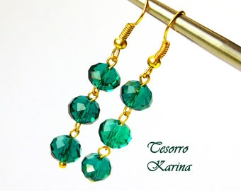 Gold earrings, earrings with glass beads with a size gradient, Earrings with glass faceted beads