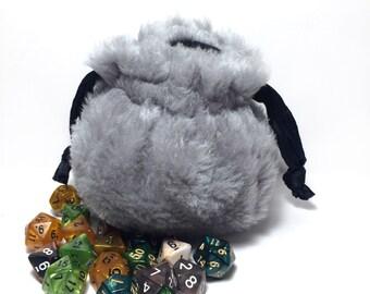 Grey Faux Fur Dice Bag - Dungeons & Dragons