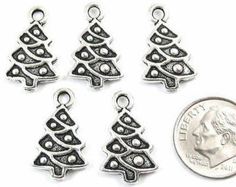 TierraCast Double Sided Pewter Charms-SILVER CHRISTMAS TREE (5)