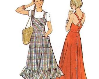 Butterick 1970s Sewing Pattern Boho Hippie Peasant Jumper Dress Summer Button Back Ruffle Hem Plus Size 19