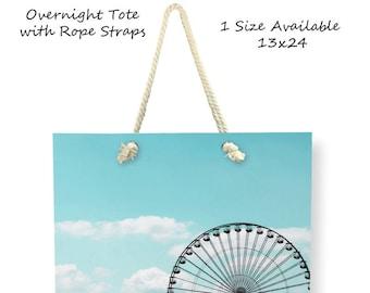 Cross Body Tote Bag-Ferris Wheel Bag-Carnival Tote Bag-Canvas Tote Bag-Teal Tote Bag-Large Tote-Overnight Tote-Gift Ideas-Weekend Tote Bag