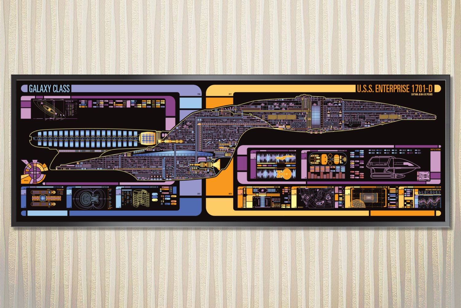 Uss Enterprise Galaxy Class Starship Lcars Poster