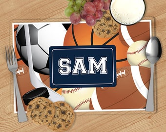 Sports - Kids Personalized Placemat, Customized Placemats for kids, Kids Placemat, Personalized Kids Gift