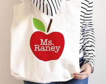 Teacher Tote Bag - Teacher Book Bag - Personalized - Teacher Gift - Apple Tote Bag