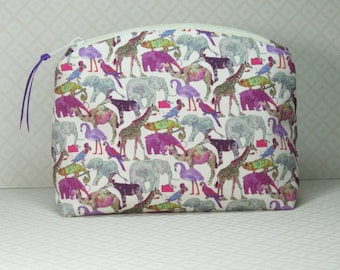 Makeup Bag, Liberty Fabric, Queue For The Zoo, Cosmetic Bag, Makeup Pouch, Tana Cotton Lawn, Bridesmaid Gift, Liberty of London, Made in UK