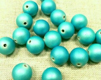 Set of 15 turquoise - matte beads - 12 mm T37