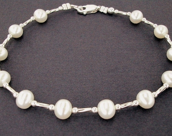 Silver and Pearl Bracelet with Sterling Silver Clasp in Small to Plus Sizes