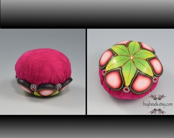 Pincushion, Fuchsia Pink Polymer Clay, Hand-Dyed Cotton