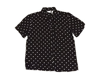 Polka Dot Button Up Short Sleeve Blouse
