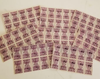 80 purple color security savings trading stamps 10 pieces sheets of 8 scrapbook altered art Vintage paper supplies ephemera