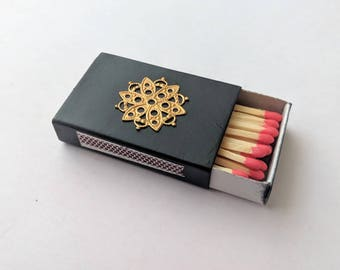 "Gold & black matchbox - 1.5 x 2"" hand painted matchbox with brass"