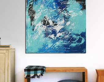 """Original Abstract Painting- Ready to Hang- Large Canvas 35.4""""- Expressionist Blue, White- Textured Art -Living Room Wall Art- Ronald Hunter"""