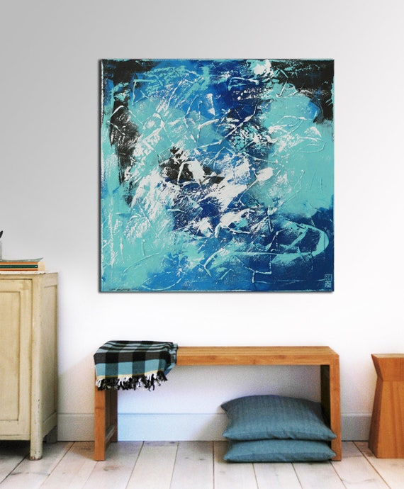Original abstrakte Malerei bereit zu hängen große Leinwand