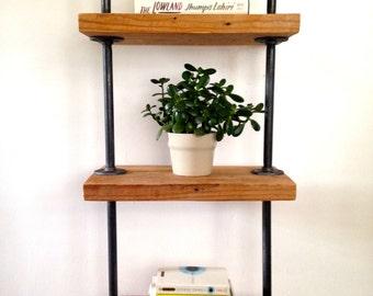 """The """"Mercer"""" Street Bookshelf - Reclaimed Wood Tall Bookshelf - Reclaimed Wood & Pipe Shelf"""