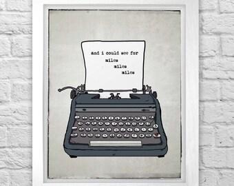 Bon Iver Holocene typewriter original digital illustration print