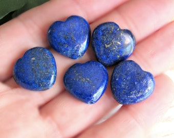 Lapis Lazuli Hearts 16mm, set of 5, large heart stones, Lapis beads, blue heart beads, heart pendants, Lapis pendants, beads, 16mm beads
