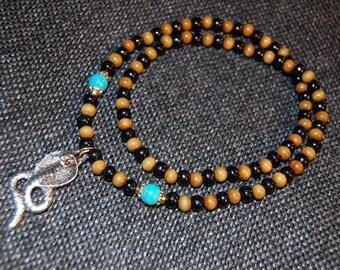 Cobra ketting, Snake ketting, houten ketting, Stretch ketting, mannen, vrouwen, bidden, spiritualiteit, gebed, Yoga, bescherming, meditatie, als cadeau
