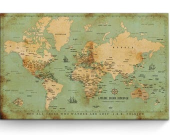 World maps push pin maps and travel related by worldvibestudio push pin canvas large world map push pin map map of the world gumiabroncs Gallery