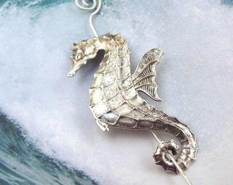 Silver Seahorse Shawl Pin, Seahorse Scarf Pin, Silver Shawl Pin, hair slide, sea horse, oxidized, tropical, silver filled, fall fashion