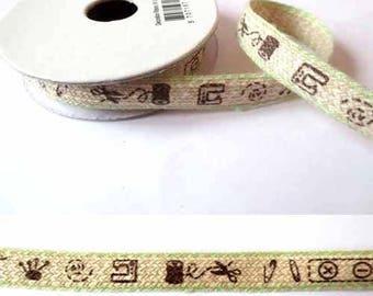 1.8 m Ribbon Cotton sewing linen/green 10mm fancy x