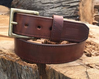 THICK Brown Leather Belt, Leather Gun Belt, Work Belt, Full Grain Leather