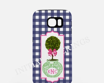 Navy Gingham Monogram Chinoiserie Topiary Samsung Galaxy Case - S4, S5 & S6