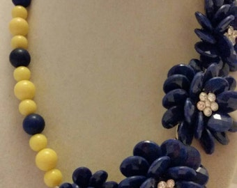 Navy Blue and Yellow Necklace Yellow and Navy Blue Necklace One Of A Kind Necklace Bridesmaid Necklace Bridesmaid Gift Jeweled Necklace Gift